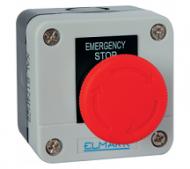 Caixa com  Botão EL1-B1741NC IP44 STOP vermelho